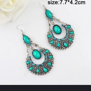 Silver and turquoise beaded earrings